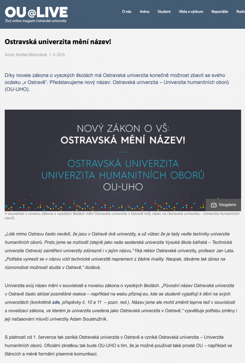 Původní článek, který 1. dubna 2016 děsil abavil lidi kolem Ostravské univerzity