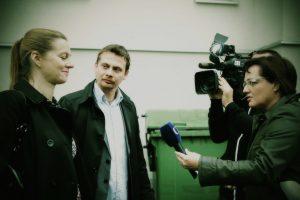 architekti David Kotek a Kateřina Holenková před kamerou České televize, foto: Monika Horsáková