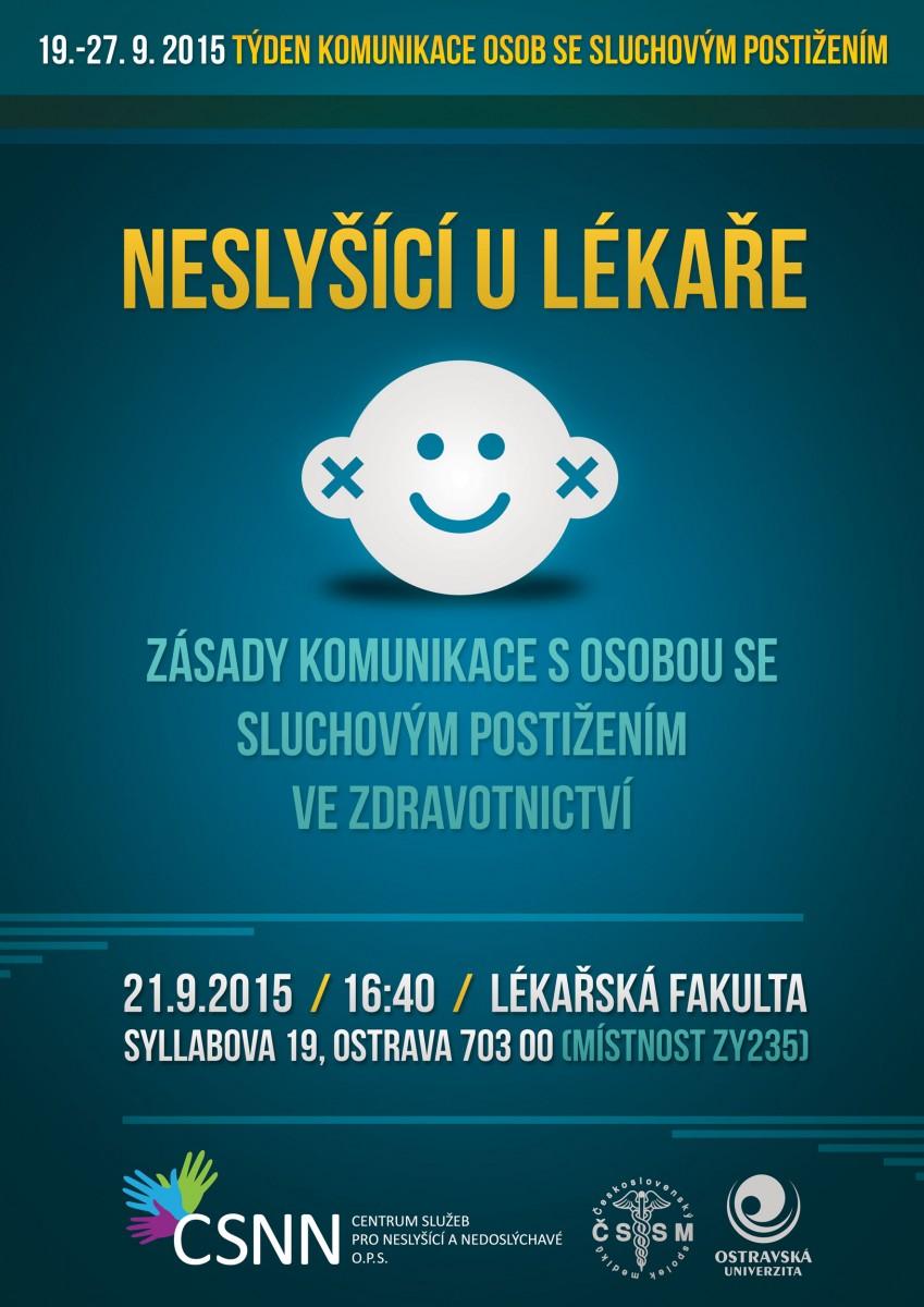 Plakát akce Týdne komunikace osob se sluchovým postižením na LF